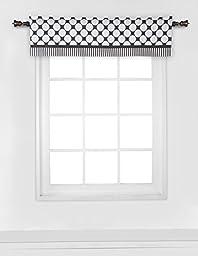 Bacati - Dots/pin Stripes Black/white Window Valance