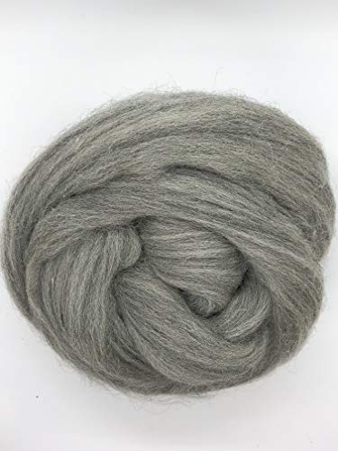 Grey Wool Top Roving Fiber Spinning, Felting Crafts USA -