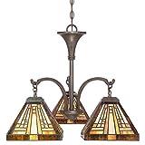 Quoizel TFST5103VB Stephen Tiffany Mini Chandelier - 3-Light - 300 Watt - Vintage Bronze (20