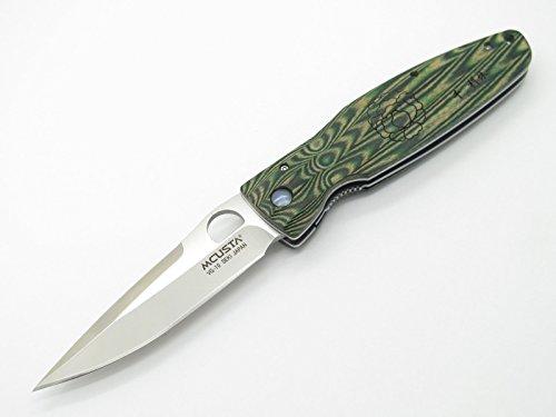 Mcusta Seki Japan Rikyu MC-184 Green Wood VG-10 Folder Folding Hunter - Steel Stainless Pouch Damascus Folder