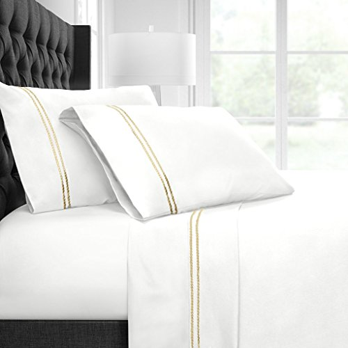 Italian Luxury Egyptian Luxury Embroidered Bed Sheet Set – Ultra Soft Premium 1500 Series w/Beautiful Rope Embroidery – Wrinkle & Fade Resistant, Hypoallergenic 4 Piece Set- Queen - White/Gold (Italian Bed)