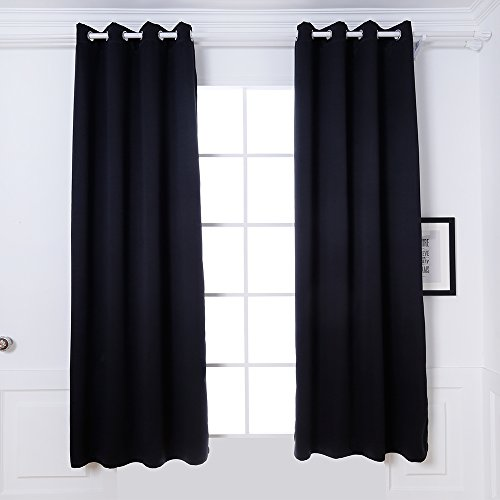DREAM ART Thermal Insulated Blackout Grommet Top Outdoor Curtain/Exterior Shades/Blinds,Stripe,Drapes for Patio Porch,Pergola,Cabana,Dock Beach and Home,One Panel W52xL84, Black ()