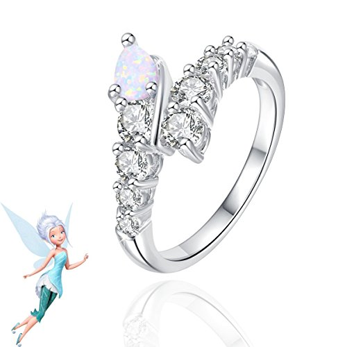 London Emily Jewelers Periwinkle Fairy from Tinkerbell Disney Inspired Fire & Ice Opal White Sapphires Sterling Silver Rhodium Plated Ring]()