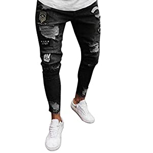 iZHH Men Slim Biker Zipper Denim Jeans Skinny Pants Distressed Rip Trousers(Black,3XL)