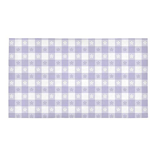 C COABALLA Lavender Rectangular Bath Rug,Pastel Colored Classic Gingham Check Pattern with Delicate Small Blossoms Decorative for Bathroom,28