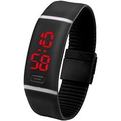 Voberry Mens Womens Rubber LED Watch Date Sports Bracelet Digital Wrist Watch (Black)