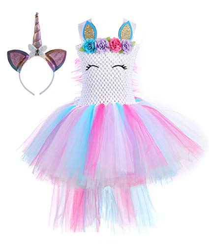 Tutu Dreams Unicorn Tutu with Headband Outfits Halloween Costumes for Girls Carnival Masquerade Party (Rainbow with Train, XL) ()