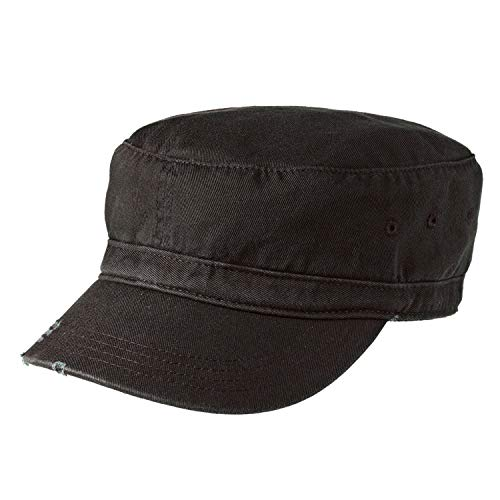 Armycrew Vintage Distressed Frayed Cotton Twill Jeep Style Military Hat - Black