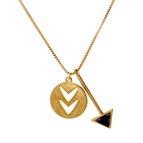 Cate & Chloe Jacqueline Confident Necklace, Unique Arrowhead Triangle Indian Style Yellow Gold Necklaces for Women, Fashion Statement Necklace for Girls, Arrow Head Pendant - Earrings 10k Elephant