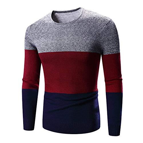 primavera per Sweater scuro autunno manica blu chic girocollo girocollo Mieuid lunga Men Knit stricktop EqXII4
