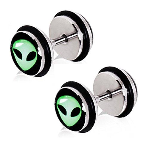 Green Alien UFO Fake Cheater Plugs Earrings - 16g - Pair