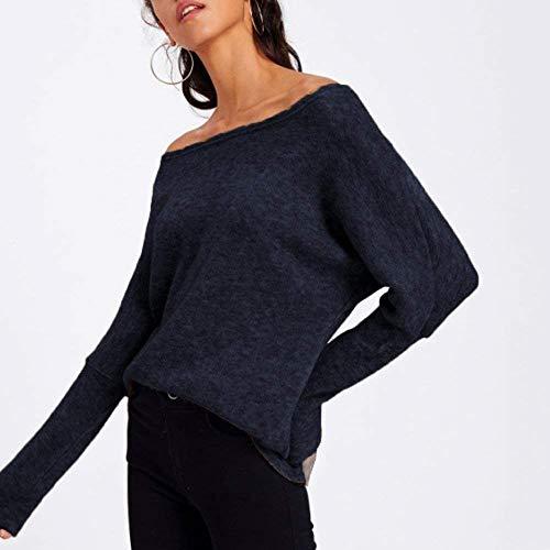 Vintage Abbigliamento Colori Donna Tops Maniche Autunno Primaverile Eleganti Baggy Camicia Moda Bluse Dunkelblau Lunghe Shirts One Shoulder Camicetta Solidi Casual A qO1PvqWHw