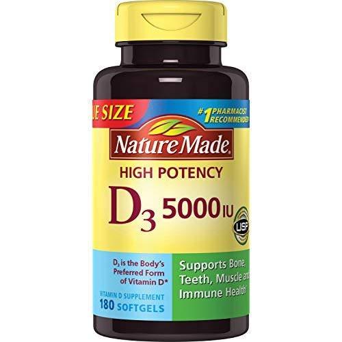 Vitamin D3 5000 IU Ultra Strength Softgels Value Size, 180 Capsules (2 Bottles)