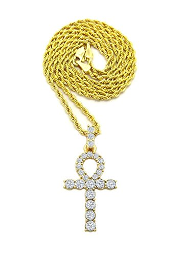 Shiny Jewelers USA MENS ICED OUT MICRO PAVE EGYPTIAN ANKH CROSS (KEY OF LIFE) PENDANT ROPE CHAIN 18