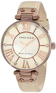 Anne Klein Women's 10/9919BMTN Rosegold-Tone Tan Leather Strap Watch