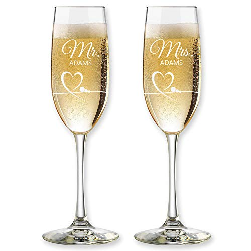 Set of 2 Champagne Flutes for Wedding Mr and Mrs Champagne Glasses Couples Anniversary Celebration Bridal Shower Gifts