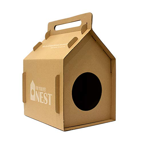 NEST Corrugated Cat Cardboard & Pet House Tower Condo Apartment, Pet Cat Furniture for Cats and Kittens, Catnip Cave for Pets & Kitties, Cat Accessories, Gingerbread Box House