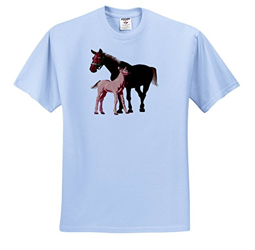 3dRose TDSwhite - Horse Equine Illustrations - Mare Foal Equines - T-Shirts - Adult Light-Blue-T-Shirt 2XL - T-shirt Adult Foal