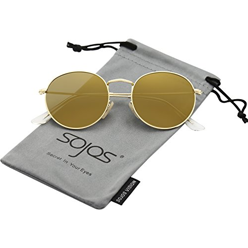 SOJOS Small Round Polarized Sunglasses Mirrored Lens Unisex Glasses SJ1014 3447 with Gold Frame/Gold Mirrored Lens