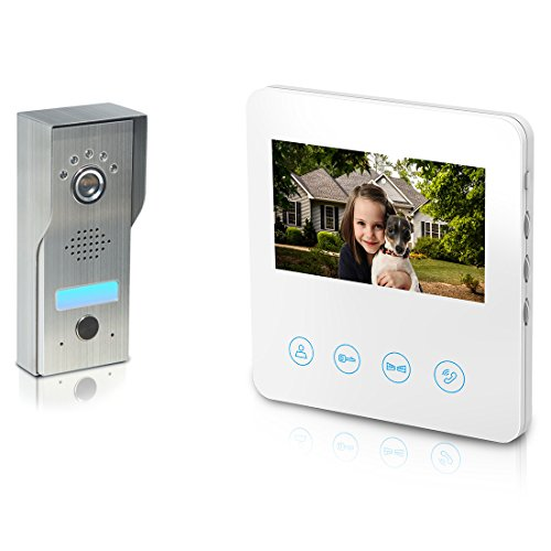 Video Doorbell with ID Cards [2- wires] Metal Camera Video Door Phone Intercom Kit 1-camera 4.3 inch monitor Night Vision Touch Button Screen - No Wi-Fi & APP White ()