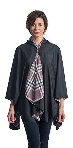 RainCaper Rainproof Rain Poncho for Women - Ultrasoft Reversible Fashion Colors (Black & Plaid) Rain Rolls Right Off!