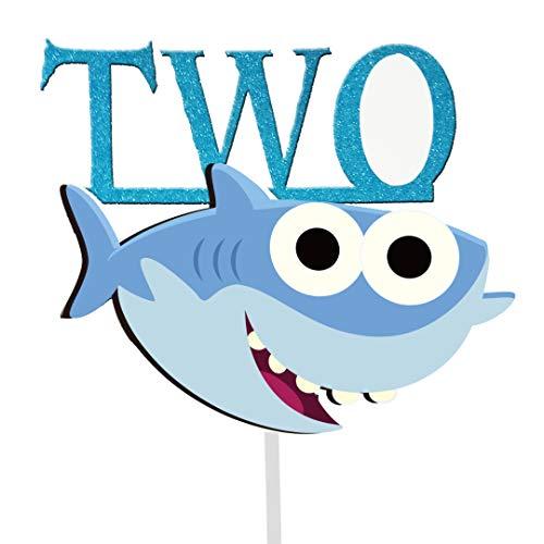 (GmakCeder Shark TWO Birthday Cake Topper for Baby Shark Birthday Boy)