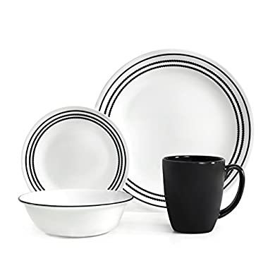 Corelle Livingware 16-Piece Dinnerware Set, Onyx Black, Service for 4