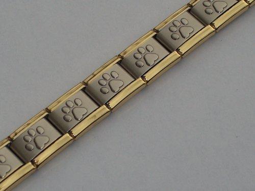 Matte Paw Print Gold Edge Italian Charm Bracelet - Friends 9mm Italian Charm