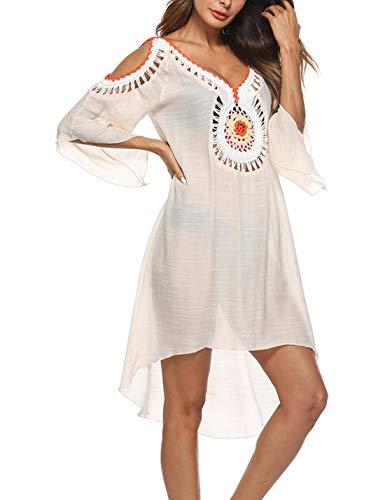 PUWEI Women's Boho V Neck Cold Shoulder Crochet Long Tunic Tops Beach Coverup (Apricot, One Size) ()
