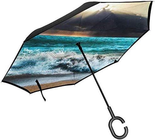 海洋波嵐地形 ユニセックス二重層防水ストレート傘車逆折りたたみ傘C形ハンドル付き