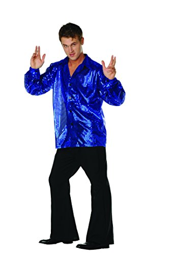 [Disco Inferno Sequin Shirt Royal Blue Large] (Cool Couples Halloween Costumes)