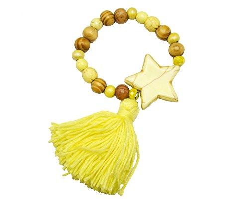 BC2266F - Bracelet Elastique Grosses Perles Bois et Pierres avec Charm Etoile Style Marbre et Pompon Jaune