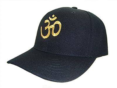 Sacred Om Yoga Symbol Adjustable Cap (One Size, Black/Gold)