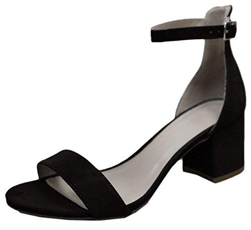 Wild Diva Women's Strappy Chunky Block Heel Platform Sandal (6.5 B(M) US, Black) (Block Platform Womens Heel)