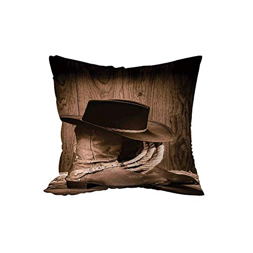 Cushion,Western Decor,Wild West Themed Cowboy Hat and Old Ranching Rope On Wooden Display Rodeo Style,Brown,15.7x15.7Inches,for Sofa Bedroom Car Decorate ()