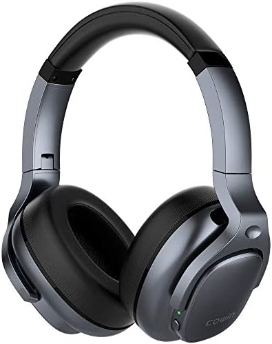 COWIN E9 Active Noise Cancelling Headphones Bluetooth Headphones Wireless Headphones Over Ear with Microphone/Aptx, Comfortable Protein Earpads, 30 Hours Playtime for Travel/Work, Silver