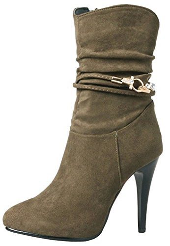 Easemax Women's Sexy Faux Suede Pointed Toe High Stiletto Heel Zip Up Ankle High Boots Khaki uq20EzC7