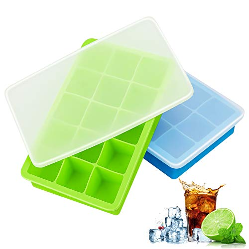Ice Cube Trays Silicone, Ice Cube Tray with Lid, Ice Trays 2 Pack, Easy Release Flexible Large Ice Cube Moulds, Dish Washer Safe BPA Free, Best for Freezer Baby Food Water Whiskey Cocktail and Drink