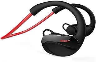 AUKEY Auriculares Deportes Bluetooth 4.1 Inalámbrico Estéreo Con Micrófono Resistente al Sudor para iPhone, iPad, LG, Samsung y Otros Teléfonos Móviles (Rojo, EP-B34)