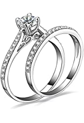 Jewelrypalace Women's 1ct Cubic Zirconia Anniversary Bridal Wedding Band Engagement Ring Sets 925 Sterling Silver
