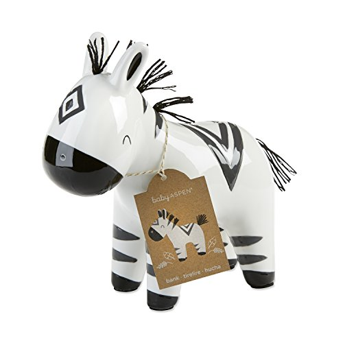 Baby Aspen Ceramic Zebra Piggy Bank | Safari Themed Decoration