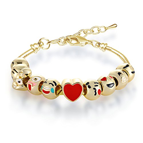 Bracelets for Teen Girls MANBARA Beaded Bracelet Cute Emoji Charm Bracelet for Kids Adjustable Length Heart Enamel Faces Christmas Birthday Jewelry Gifts (500CB02 Gold Color) (Enamel Gold Heart)
