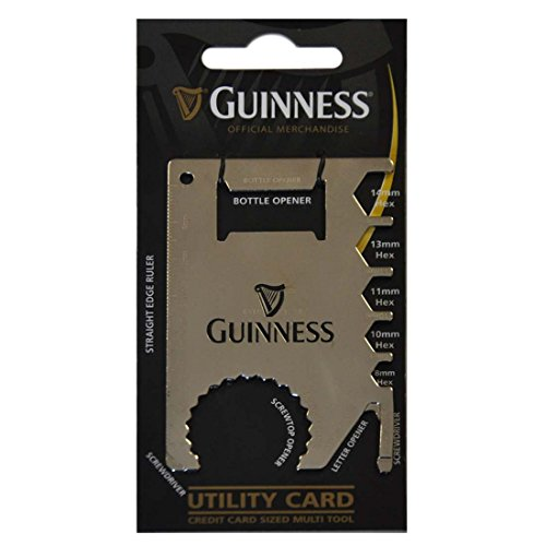 - Guinness Credit Card Sized Multi Tool Silver Utility Card With Black Harp Design