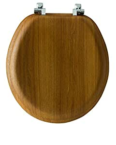 Mayfair Natural Reflections Toilet Seat with Chrome Hinges, Round, Natural Oak Veneer, 9601CP 378
