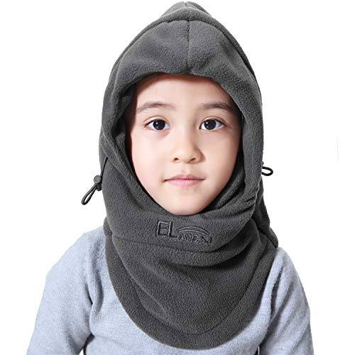 Miracu Childrens Lightweight Balaclava Winter Hat, Thick Windproof Soft Warm Fleece Kids Ski Cap Face Mask Winter Hood for Outdoor Sports