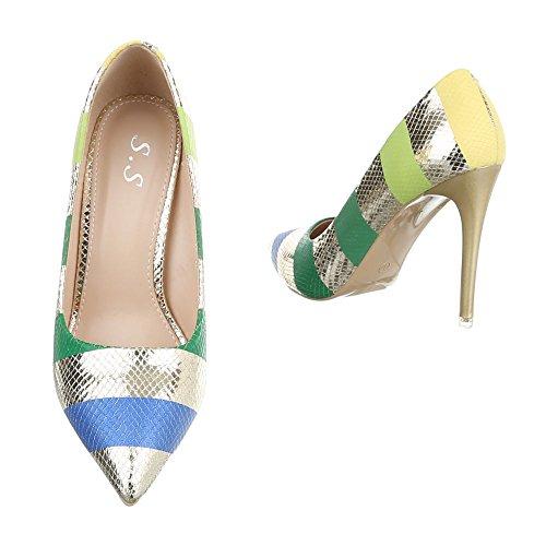 Multi Design chaussures femme Gold compensées Ital wXW76Bq6
