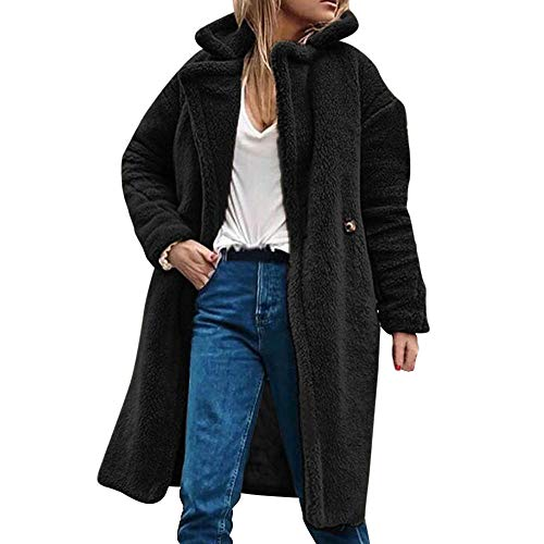 (TOTOD Coat,Women Winter Casual Warm Parka Jacket, Solid Long Sleeve Button Fluffy Plush Outwear Overcoat Outercoat (Black,)