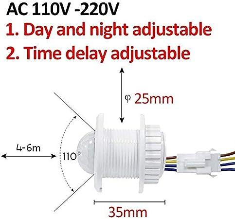 Oulida Brillante Interruptor 110V 220V Corredor Escaleras PIR Sensor del Detector Inteligente de luz LED Interruptor Noche Inicio de iluminación automático Encendido Apagado Sensor WSL hehthjthr: Amazon.es: Hogar