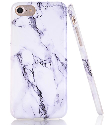 BAISRKE White Marble Design Clear Bumper TPU Soft Rubber Silicone Cover Phone Case Compatible with iPhone 7 (2016) / iPhone 8 (2017) [4.7 inch]
