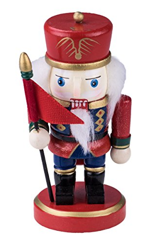 Clever Creations Traditional Chubby Soldier Nutcracker Wearing Red and Blue Uniform and Holding a Flag | Festive Christmas Decor | Perfect Addition to Any Collection | 100% Wood | 6.25